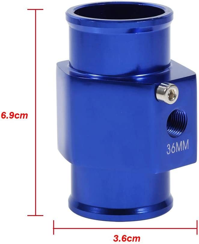 Water Temperature Joint Pipe 36mm Blue Water Temperature Joint Pipe Temp Sensor Gauge Radiator Hose Adapter