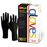 Jetblack Vinyl Gloves, Black, Medium, 90 Count