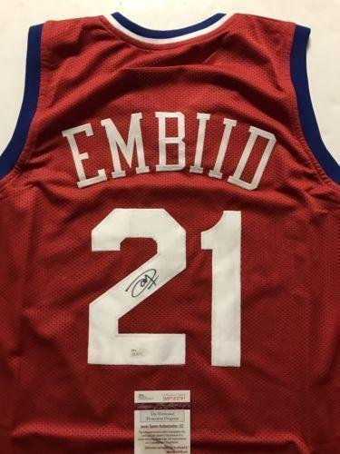 0ae6a04da1a Joel Embiid Signed Jersey - Sixers Red COA - JSA Certified - Autographed  NBA Jerseys