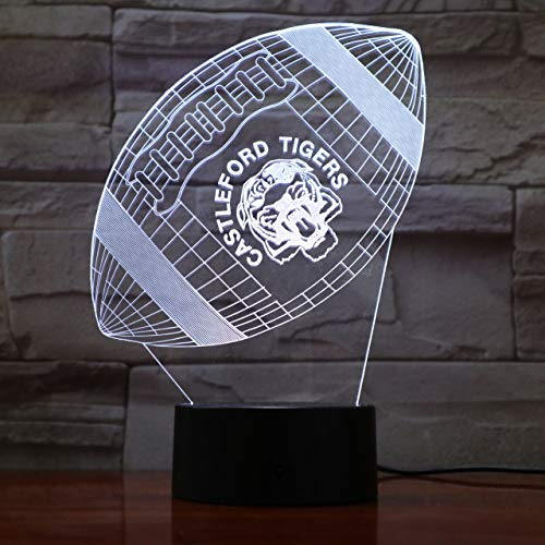 KUKULE Led Night Light Rfc Castleford Tigers 3D Illusion Touch Sensor Children Kids Gift Table Bedroom Lamp Rugby League Football ()