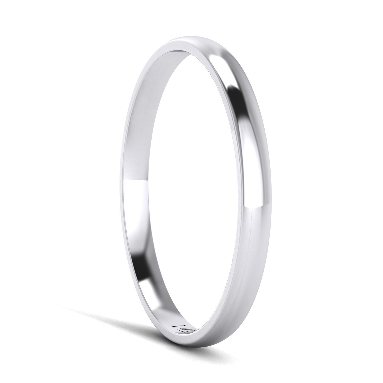 Unisex 14k White Gold 2mm Light Court Shape Comfort Fit Polished Wedding Ring Plain Band (5.5) by LANDA JEWEL (Image #3)