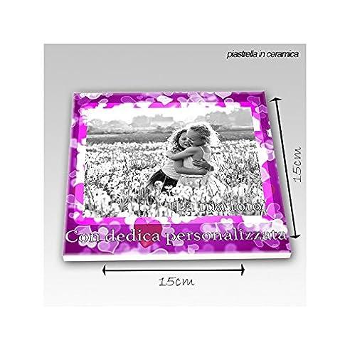 Fliese 15 X 15 Cm Keramik Herzen Liebe Geschenk Verlobte Pink  Personalisierbar Mit Foto Und Gedicht