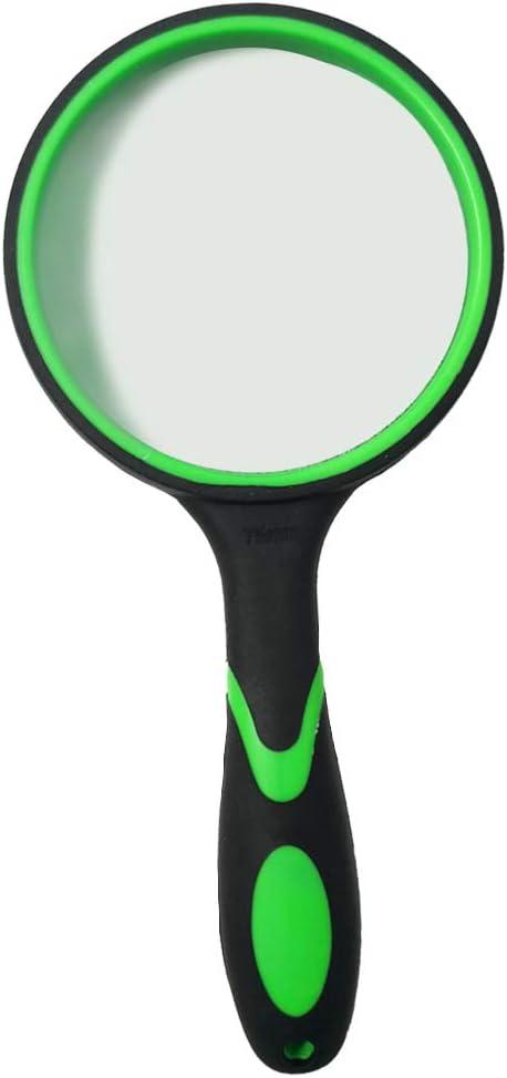 Lupa 10X, Lupa de Lectura portátil con Mango de Goma Blanda Antideslizante, Lente de 75 mm, Libros de Lectura de Espejo de Aumento irrompible, Inspección, Insectos (Verde)