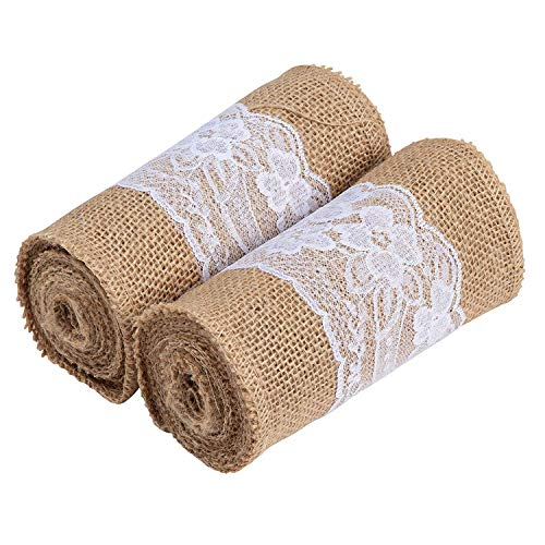 Burlap Table Runner - 2-Pack 3 Yards x 5.9 Inches Brown Jute Fabric Table Runner with White Lace Stylings]()