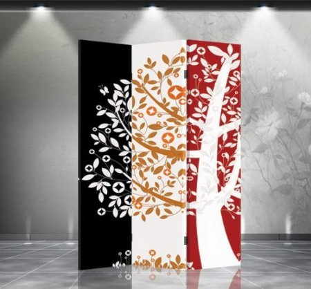 Double Sided Canvas Screen Room Divider - Money Tree