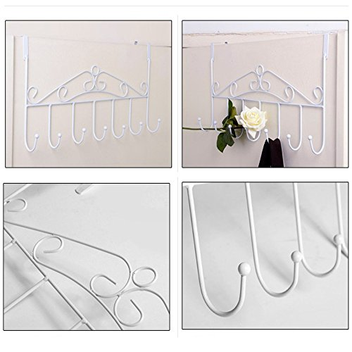 Floral-Design Wall Mounted Black Metal 7 Hooks Rail Garment Rack (white)