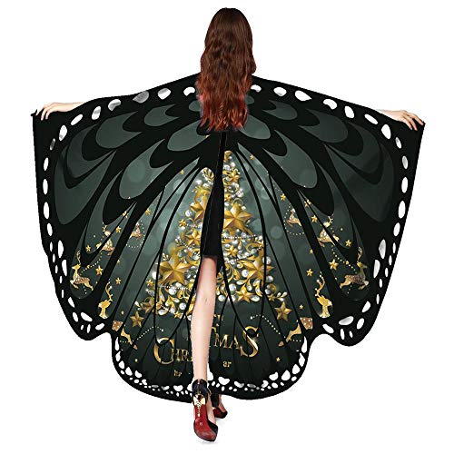 iLXHD Women Christmas Butterfly Wings Shawl Scarves Poncho Costume Accessory -