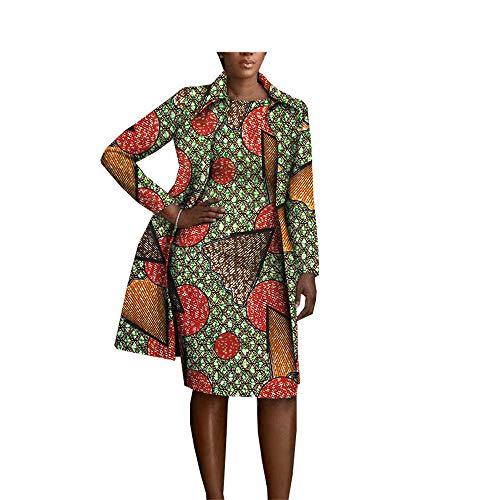 - African Clothing 2 Pieces Set for Women Coat Jacket+Sleeveless Knee Length Dress Set 322 XS