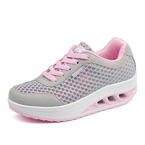 Agsdon Women's Comfortable Fashion Shake Shoes(Grey/Pink)