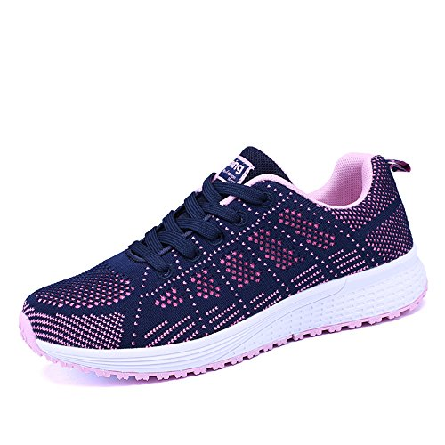 fcdb4312958 PAMRAY Women s Running Shoes Tennis Athletic Jogging Sport Walking Sneakers  Gym Fitness Blue 39