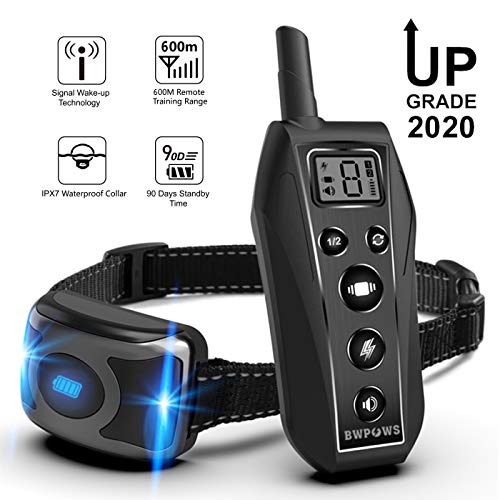 Bwpows Dog Training Collar with 3 Training Modes, Including Beep and Vibration,up to 1968Ft Long Range Remote Control…