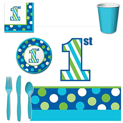 1st Birthday Party Bundle - Sweet Stripes Boy (First Birthday Party Supplies Boy compare prices)