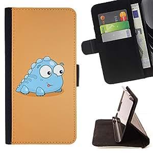 Momo Phone Case / Flip Funda de Cuero Case Cover - Poco Luz Dinosaurio criatura azul Arte de la historieta - Samsung Galaxy S6 EDGE