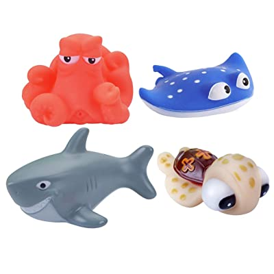 NUOBESTY 4PCS Water Spray Toy Squeezing Bath Toys Ocean Animals Toy for Swimming Pool Shower Bathting Toy (Assorted Color): Toys & Games