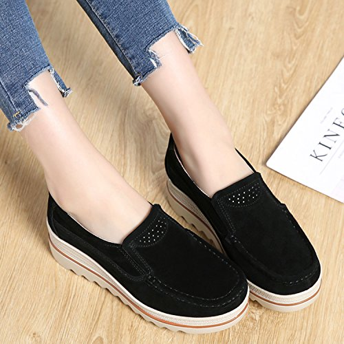 Ladies Sneakers Suede Moccasins Wide Women Platform Wedge PINGYE Comfort Loafers for Low Slip Top On Shoes Black EZT0fwq