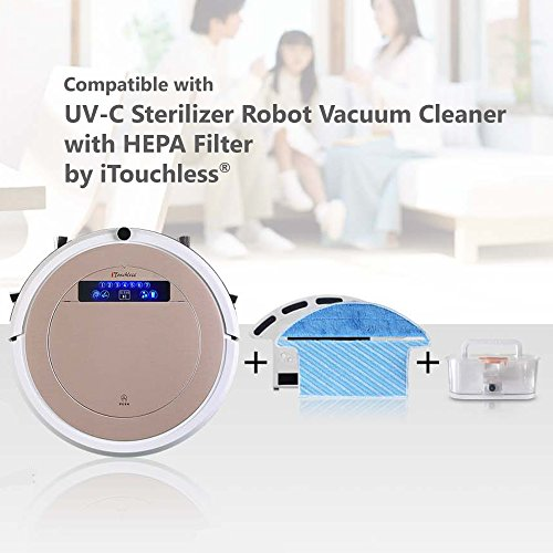iTouchless High-Power, Self-Charging Robotic Vacuum Cleaner with UV-C Sterilizer and HEPA Air Filter for Pet Fur and Allergens, Wet Mop for Hard-Surface Floors, Extra-large Bin Capacity, Rose Gold by iTouchless (Image #3)