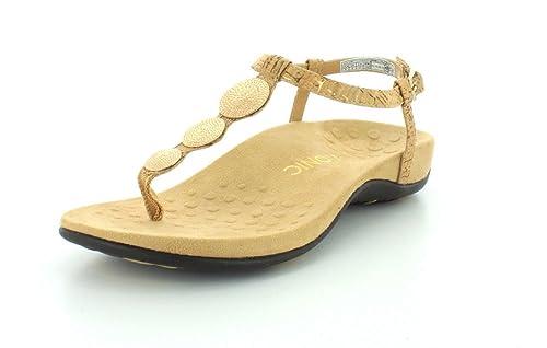 51145bbfdfd6 Vionic with Orthaheel Technology Womens Lizbeth T-Strap Gold Cork Thong  Sandal - 8 M