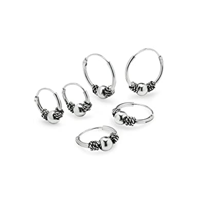 Sterling Silver Endless Hoop Earrings Two Pair Set, Bali Wrap Tribal Ball In Sizes 12mm and 10mm