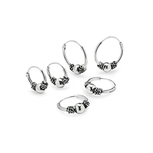 c1b4e8357 Amazon.com: 935 Sterling Silver Balinese Beaded Endless Small Hoop Unisex  Earrings | Set of 3 10,12,14mm: Jewelry