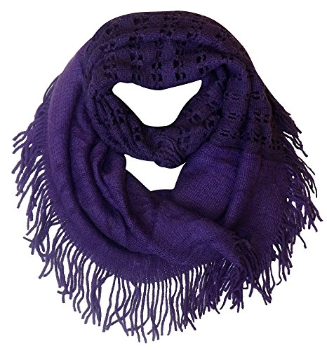 Peach Couture Warm Bohemian Crochet Hand Knitted Fringe Infinity Loop Scarf Wrap Purple Square