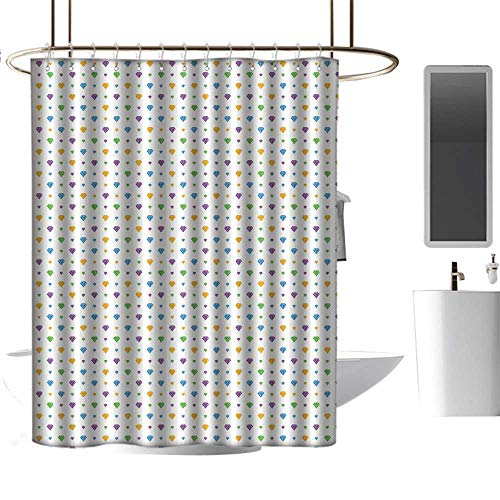Qenuan Clear Shower Curtain Liner Diamonds,Crystal Stones of Many Shapes Colorful Digitally Composed Illustration Traditional,Multicolor,Metal Rust Proof Grommets Bathroom Decoration ()