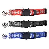 Breakaway Cat Collar with Bell - SCENEREAL Reflective Cute Safe Outdoor Safety Cat Collars Set of 3 Paw Pattern Design Adjustable from 8-11