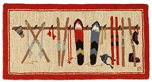Photo Chandler 4 Corners Beautiful Hand Made Wool Rug, Hand Hooked Ski Rack Rug Decorative Design 2`x4` - 100% Natural Wool