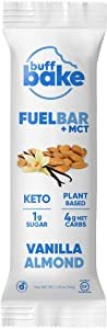 Buff Bake Fuel Bar + MCT | Keto Friendly | Plant Based | Gluten Free | 12g of Protein | 1g Sugar | 4g Net Carbs | Non Dairy | Vegan (12 Count, 50g) (Vanilla Almond, 12 Count)