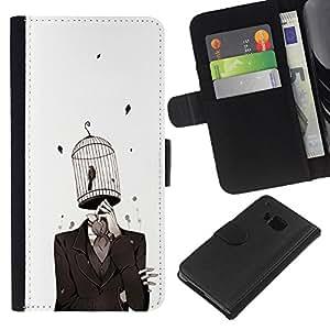 BearCase / Cuero de la tarjeta la carpeta del tirón Smartphone Slots Protección Holder /// HTC One M7 /// chelovek kostyum kletka ptica