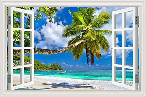 3D Window Decal Wall Stickers Coconut Tree Summer Beach Home Decor Mural Art Vinyl Wallpaper 24