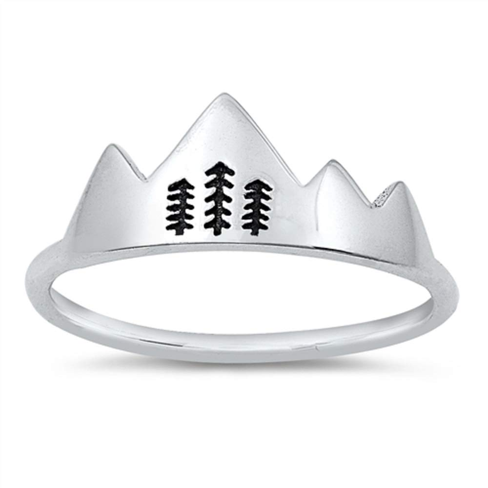 CloseoutWarehouse Oxidized Sterling Silver Mountains and Trees Ring