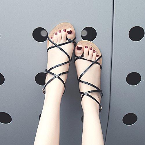 de Señoras Playa Moda black Antideslizante y YMFIE cómodo Verano Calzado Simples de Sandalias pxdwIqUC