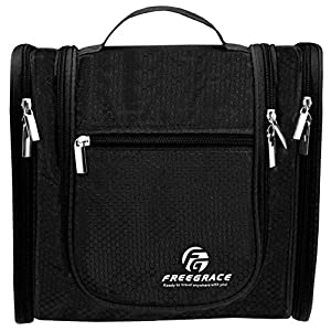 Hanging Toiletry Bag By Freegrace - Premium Large Travel Essentials Organizer - Durable Metal Hook - For Men & Women - Perfect For Accessories, Cosmetics, Personal Items, Shampoo, Body Wash (Black)