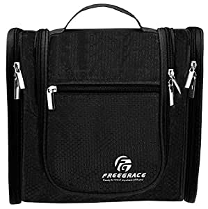 Premium Toiletry Bag By Freegrace - Large Travel Essentials Organizer - Durable Hanging Hook - For Men & Women - Perfect For Accessories, Cosmetics, Personal Items, Shampoo, Body Wash (Black)