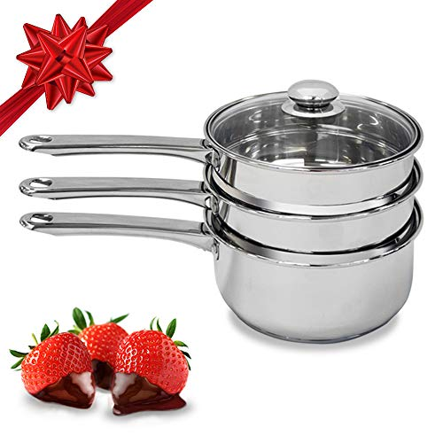 (Double Boiler & Steam Pots for Melting Chocolate, Candle Making and more - Stainless Steel Steamer with Tempered Glass Lid for Clear View while Cooking, Dishwasher & Oven Safe - 3 Qts & 4 Pieces )