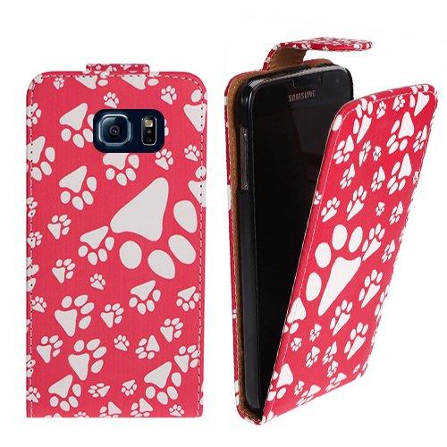 Xtra-Funky Serie Samsung Galaxy Note 5 Mascotas Paw Impresión del pie de la PU del tirón del cuero de la cubierta del caso - Púrpura Rosa