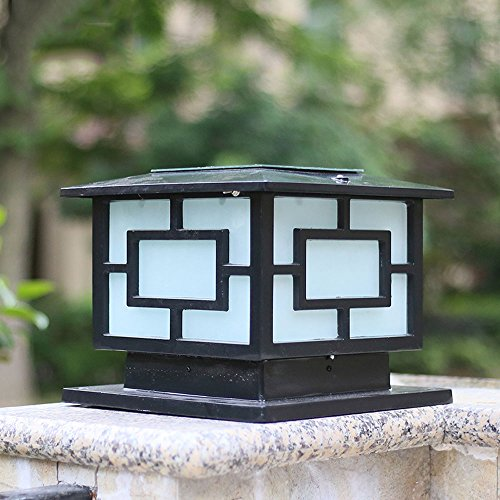 Pumpink Chinese Style Outdoor Pillar Light Column Lamp Vintage Open Air Antirust Patio Community Meadow Gate Lamp Post Lantern Vintage Waterproof Aluminum Fence Villa Garden Lamp Patio ()