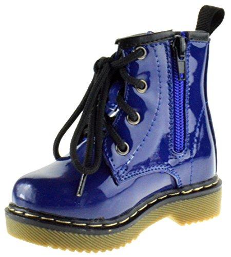 Jane Little Girls Combat Lace Up Patent Combat Boots