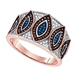 10kt Rose Gold Womens Round Red Colored Diamond Band Ring 3/8 Cttw