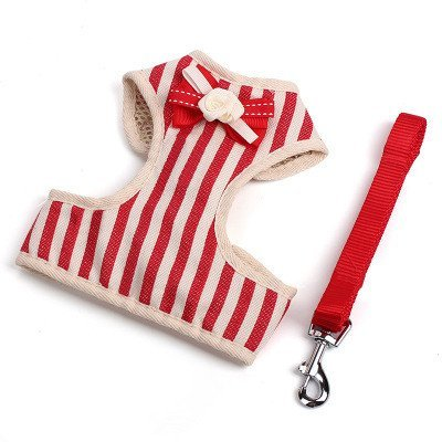 TLMY Pet Leash Dog Puppy Retro Striped Bow Traction Chest Strap Nylon Dog Chain Pet Supplies Pet Chain (color   RED, Size   L)