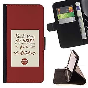 For LG G4 Case , Corazón cita del amor rojo impresiones de texto- la tarjeta de Crédito Slots PU Funda de cuero Monedero caso cubierta de piel