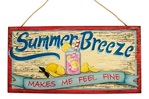 Summer Breeze Makes Me Feel Fine Pink Lemonade Wood Plaque 14 Inch Wall Decor