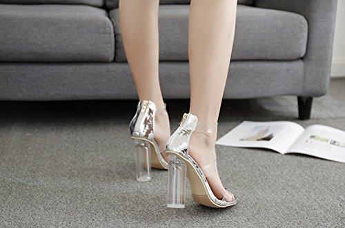 Aisun Damen Offen Zehen Transparent Kunststoff Blockabsatz Knöchelriemchen Sandale mit Reißverschluss Silber