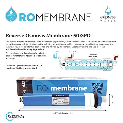 Express Water – 6 Month Reverse Osmosis System Replacement Filter Set – 5 Filters with 50 GPD RO Membrane – 10 inch Size Water Filters by Express Water (Image #2)