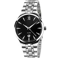 Men's Unique Analog Quartz Waterproof Business Casual Stainless Steel Band Dress Roman Numeral Wrist Watch Classic Design Calendar Date Window Wristwatch Black