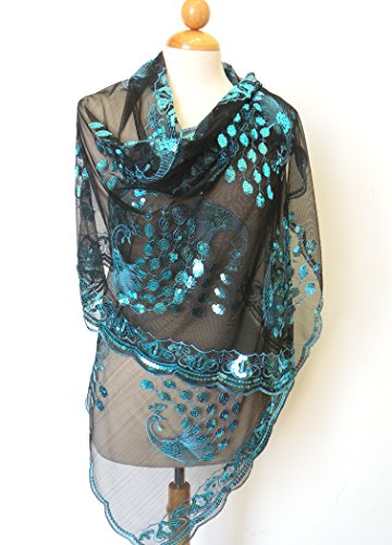 Extra Long Teal Blue Peacocks Sequined Scarf ,Beautiful Designs , Elegant and Fashion Peacock For All Year Round , Size at 21 inch Width x 71 inch Length . Please Note That Color May Vary Slightly Be
