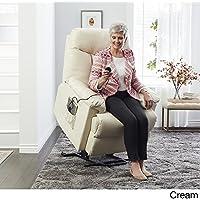 ProLounger Lya Cream Renu Leather Power Recline and Lift Wall Hugger Chair 3-Position
