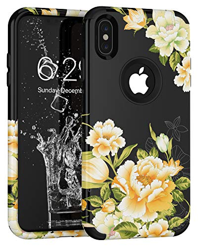 - iPhone Xs Max Case, SUKER Unique Floral Pattern Three Layer Heavy Duty Hybrid Sturdy Armor High Impact Shockproof Protective Case Cover for Apple iPhone Xs Max 6.5