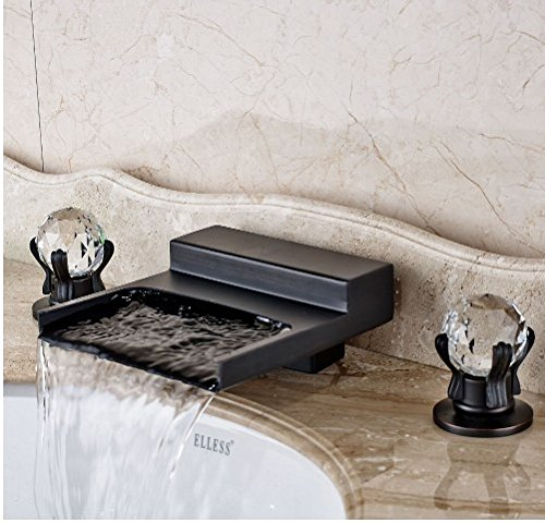 Gowe Widespread LED Waterfall Spout Bathroom Sink&Tub Faucet Oil Rubbed Bronze Deck Mounted Double Handles 3 Holes 3