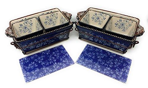 Temp-tations 6pc Mini Bakers - 2 1Qt Loaf Pans & 4 10oz Ramekins (Floral Lace Blue)